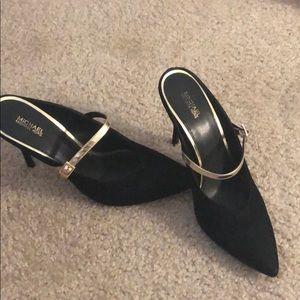 Michael kors suede heels with golden strap